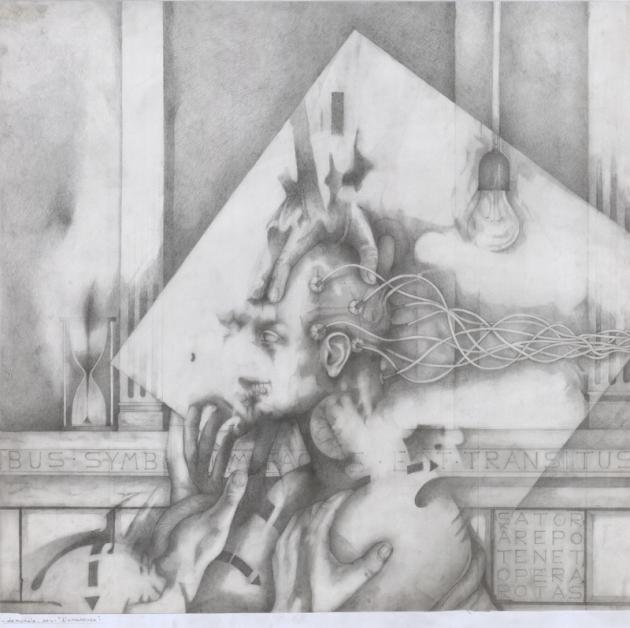 Sator, matita su cartoncino, 80 x 80 cm